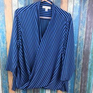 Michael Michael Kors Blue Black Striped Blouse